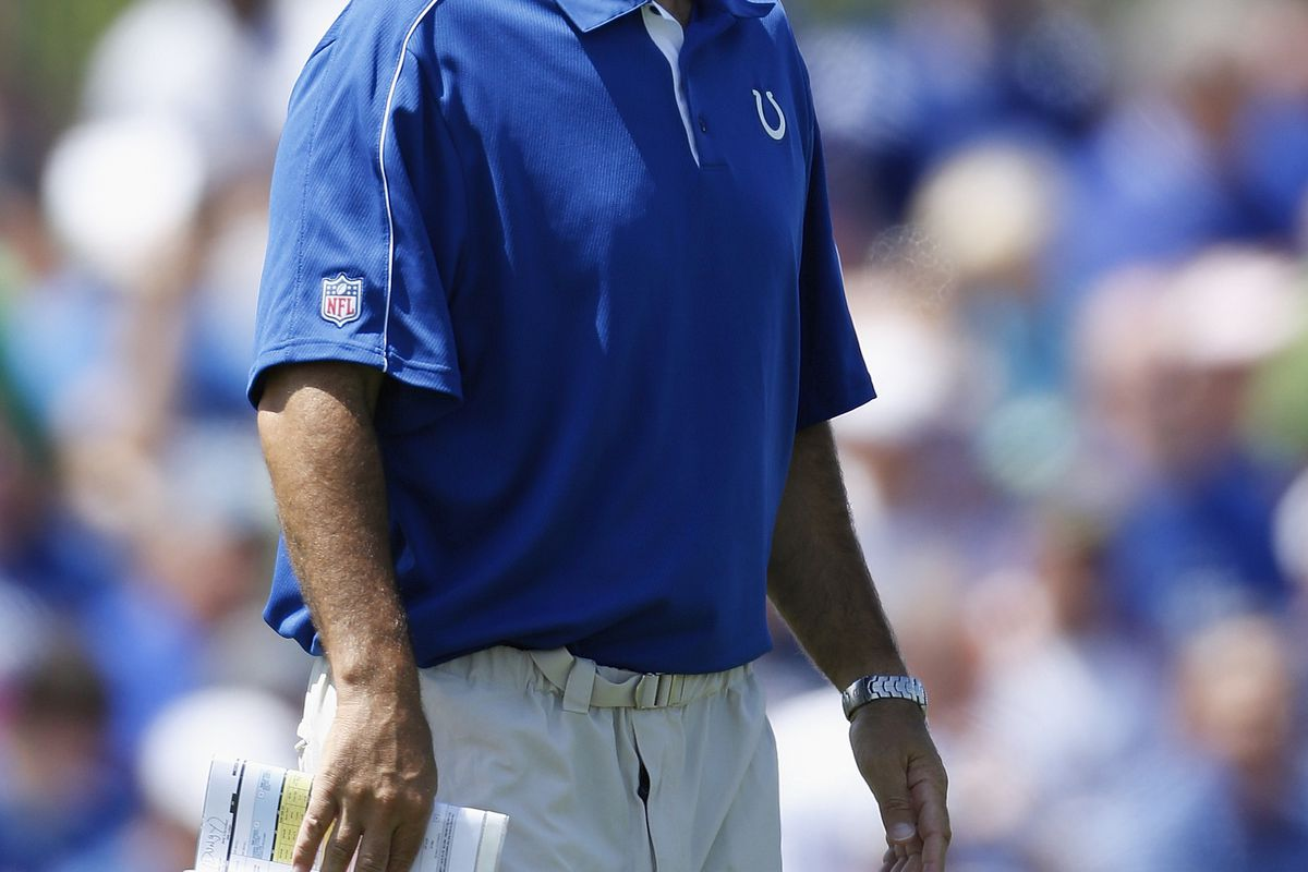 ANDERSON, IN - JULY 29: Indianapolis Colts head coach Chuck Pagano looks on during training camp at Anderson University on July 29, 2012 in Anderson, Indiana. (Photo by Joe Robbins/Getty Images)