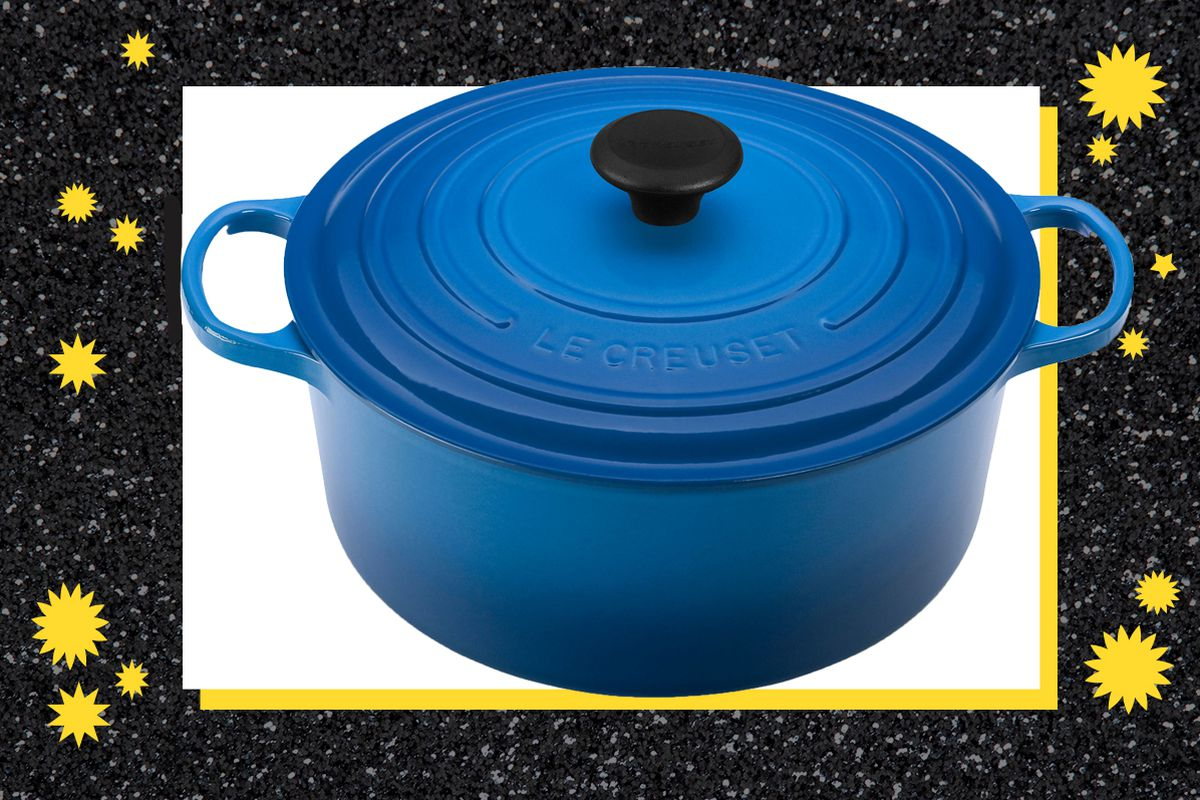 blue Dutch Oven on a sparkly black and white background