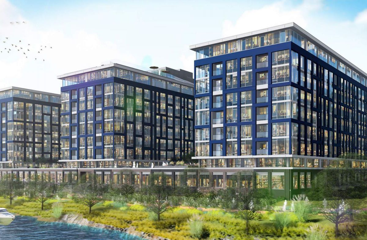 A rendering of a three-part residential and retail development along a waterfront area.