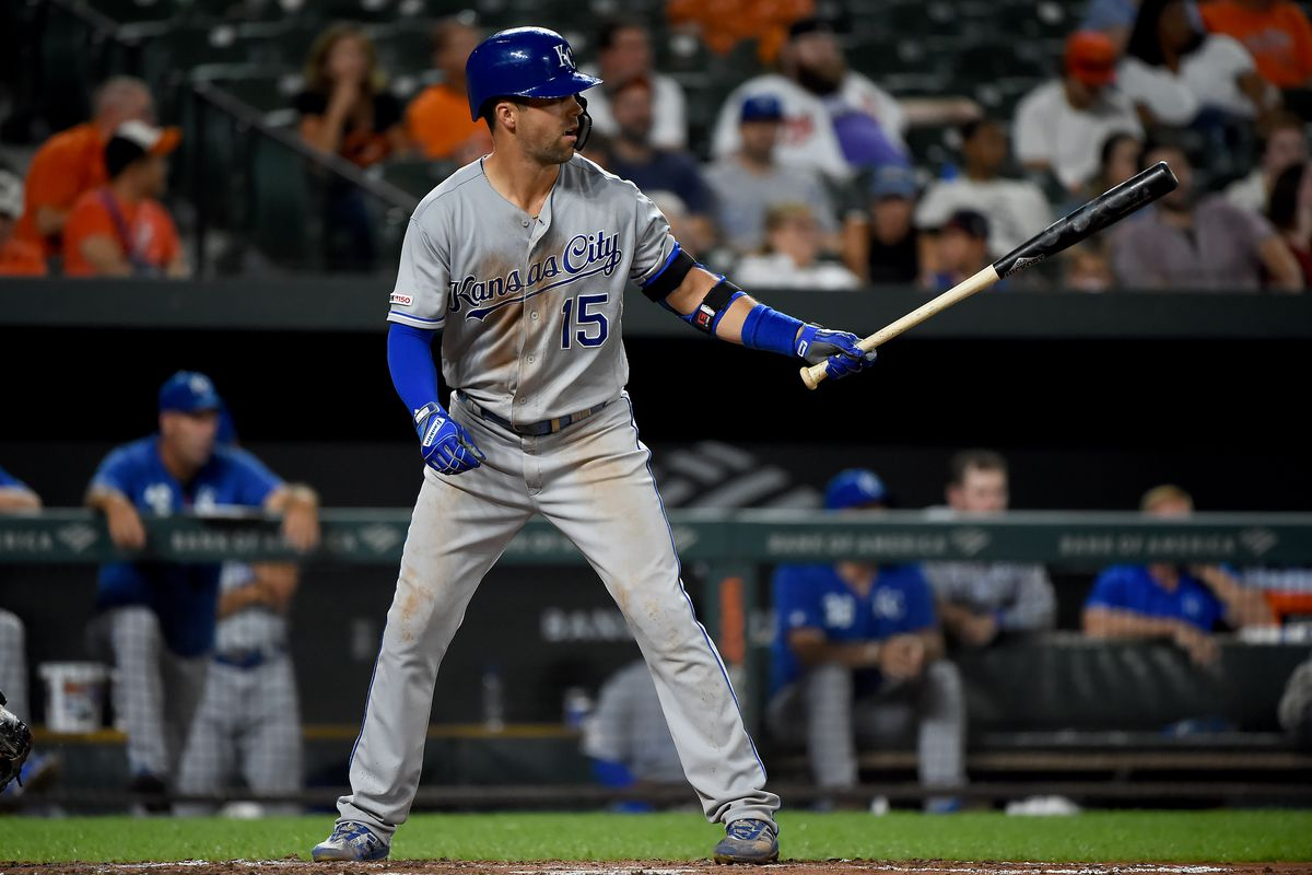 Whit Merrifield #15 of the Kansas City Royals at bat during the game against the Baltimore Orioles at Oriole Park at Camden Yards on August 20, 2019 in Baltimore, Maryland.