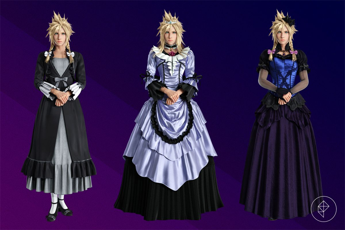 Cloud Strife stands with his hands crossed in front of him in three different dresses