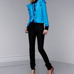 Ruffle blouse in Dresden blue and black, $34.99; crystal stone tassel earrings, $16.99; crystal teardrop pendant necklace, $19.99; ankle-strap pumps, $39.99