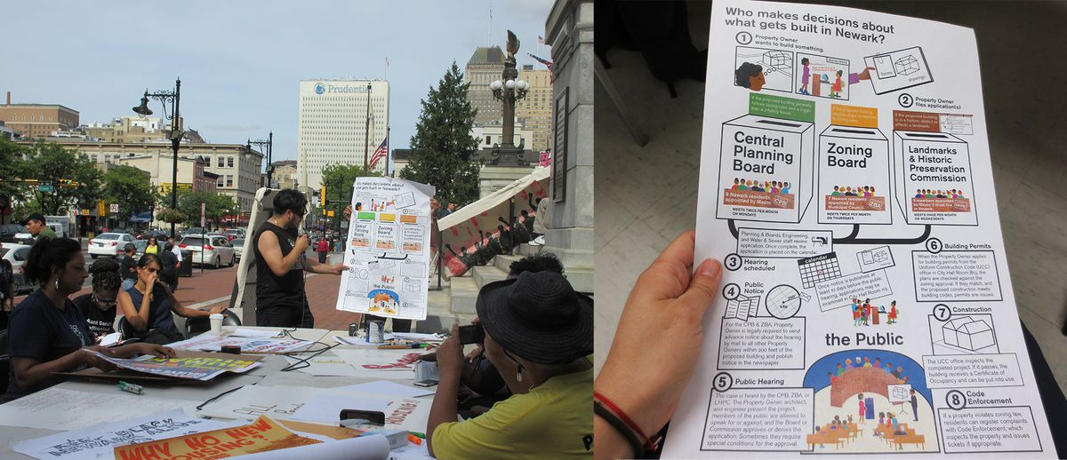 A teach-in held in downtown Newark, New Jersey, the educate locals about zoning practices.