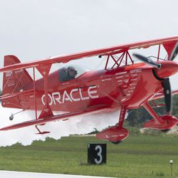 Sean Tucker flies over Gary Airport on media day for Chicago Air and Water Show.   Colin Boyle/Sun-Times