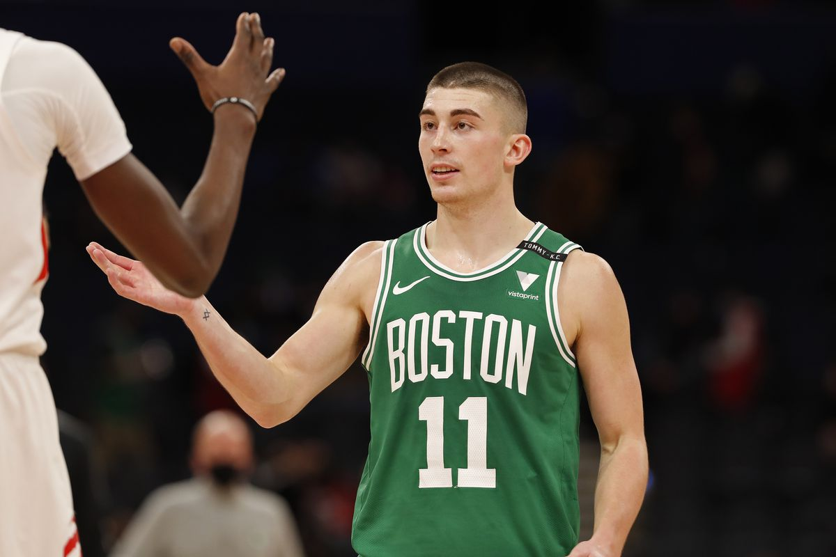 Payton Pritchard of the Boston Celtics shakes hands and walks off the court against the Toronto Raptors on January 4, 2021 at Amalie Arena in Tampa, Florida.