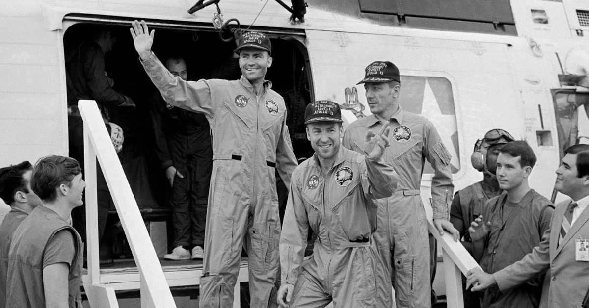 This website lets you relive Apollo 13 in real time through historical transcripts, footage, and audio