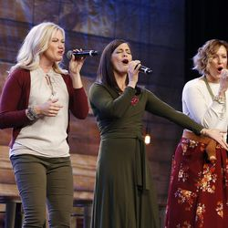 Mercy River sing during Deseret Book's Time Out for Women and Time Out for Girls event at the South Towne Exposition Center in Sandy on Sunday, Nov. 20, 2016.