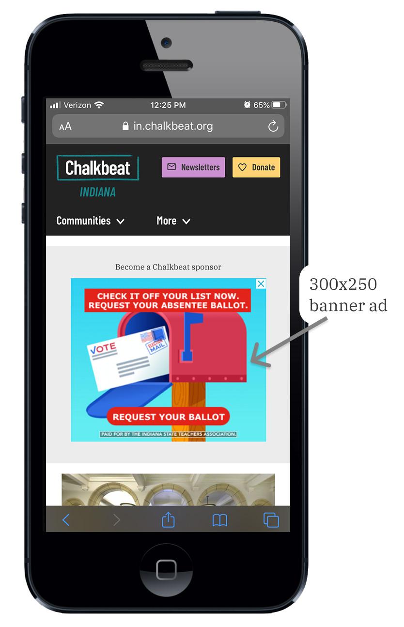 Chalkbeat sponsor banner displayed on a mobile version of the Chalkbeat website.