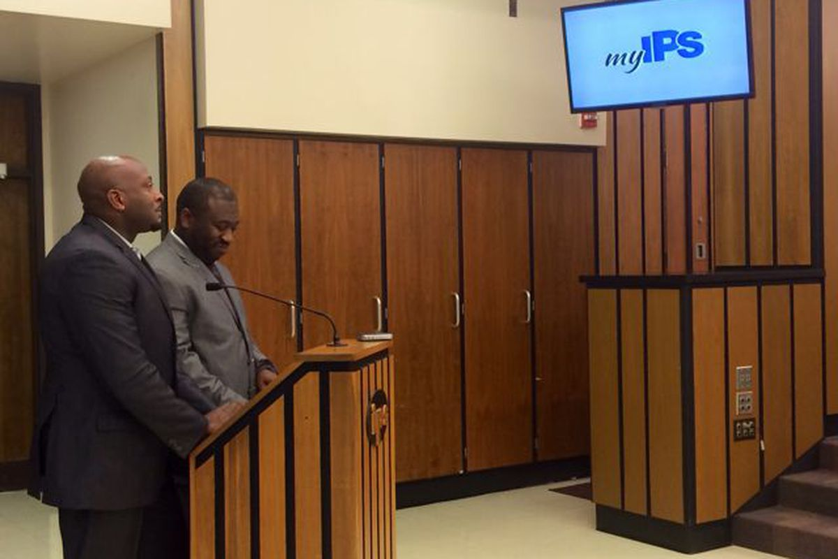 Earl Martin Phalen and Marlon Llewellyn of Phalen Leadership Academy present their idea to IPS school board members to open an autonomous school within the district.