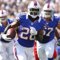 FILE -  In this Sept. 16, 2012 photo, Buffalo Bills' C. J. Spiller (28) runs for a touchdown against the Kansas City Chiefs during the first quarter of an NFL football game in Orchard Park, N.Y. Spiller has the Buffalo Bills offense up and running, and coach Chan Gailey couldn't be more pleased.