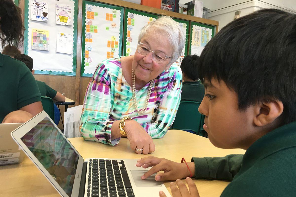 Schools Chancellor Carmen Fariña observes a fourth-grade class at the Brooklyn Arbor Elementary School.