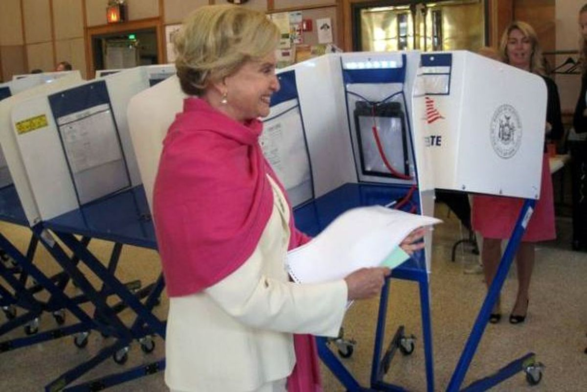 Carolyn Maloney votes at the 92nd Street Y in 2010.