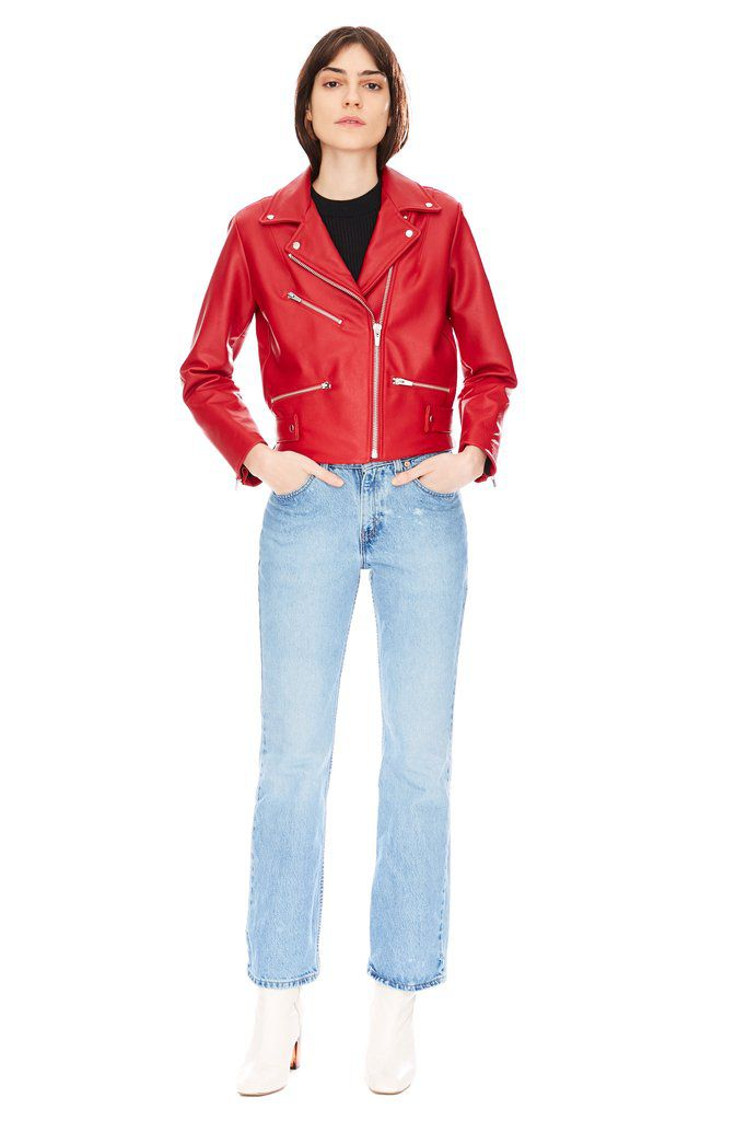A model in a red leather jacket f329a927a