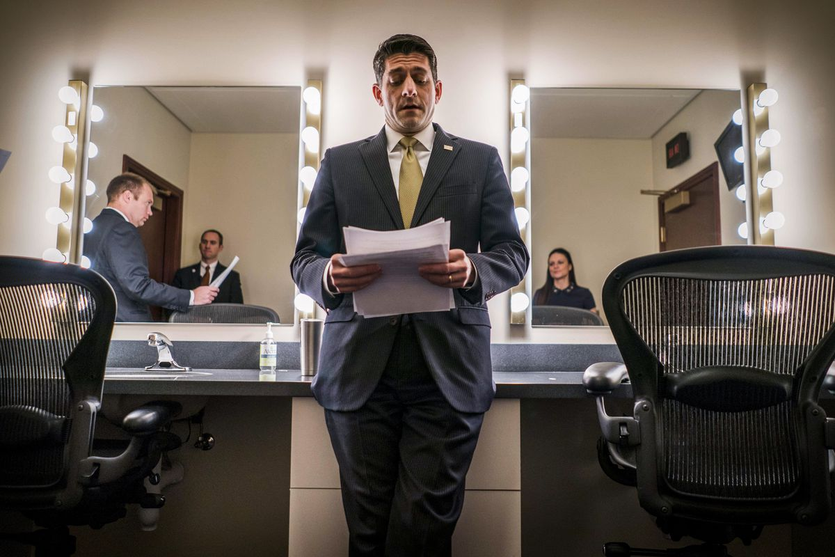 In the Ante Room, Paul Ryan prepares before his press conference with a government shutdown looming on January 18, 2018.