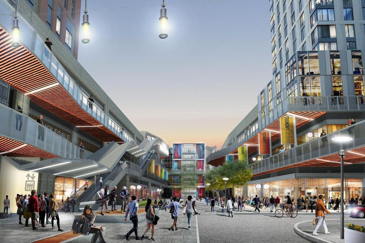 Rendering of a busy pedestrian plaza in between high-rises and stores.