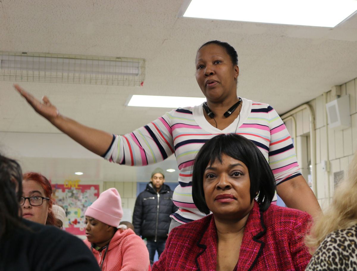 Valencia Moore, PTA president at P.S. 36 last school year, called for more resources at the District 5 school. Photo: Christina Veiga