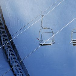 A chairlift sits idle at the Utah Olympic Park near Park City on Monday, Nov. 30, 2020.