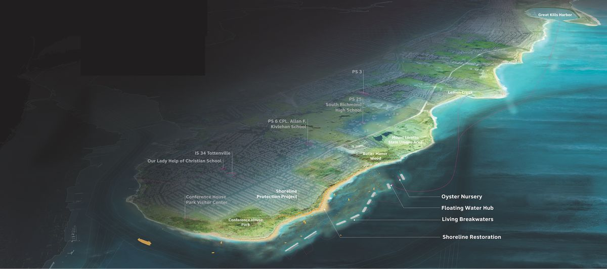 A rendering of Staten Island's coastline showing where oyster reefs could be constructed