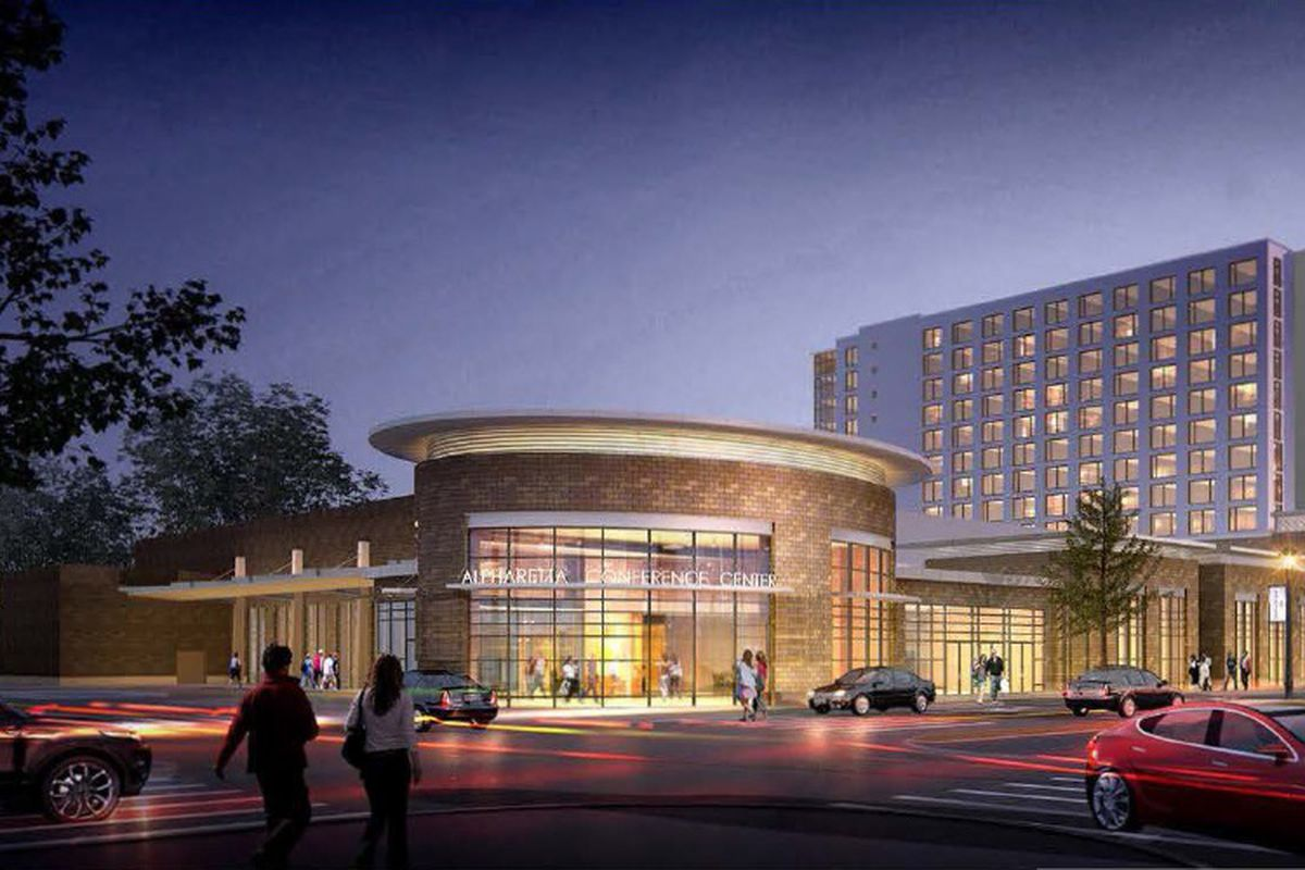A rendering of a 12-story hotel beyond a convention center.
