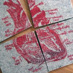 """<a href=""""http://shop.girlscantell.com/product/broken-heart-anatomical-diagram-coasters"""">Heart Diagram Coasters</a>, $16 from Girls Can Tell"""