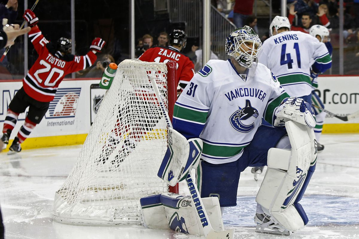 Eddie Lack, goaltender for Vancouver, guy who gave up a tissue-soft goal to Jordin Tootoo that made it 2-0 in the second period.