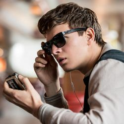 """Baby (Ansel Elgort) charms Debora as she works in """"Baby Driver."""""""