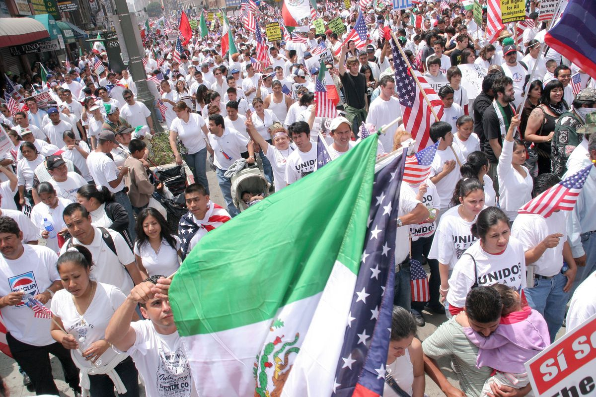 mexican flag immigration protest