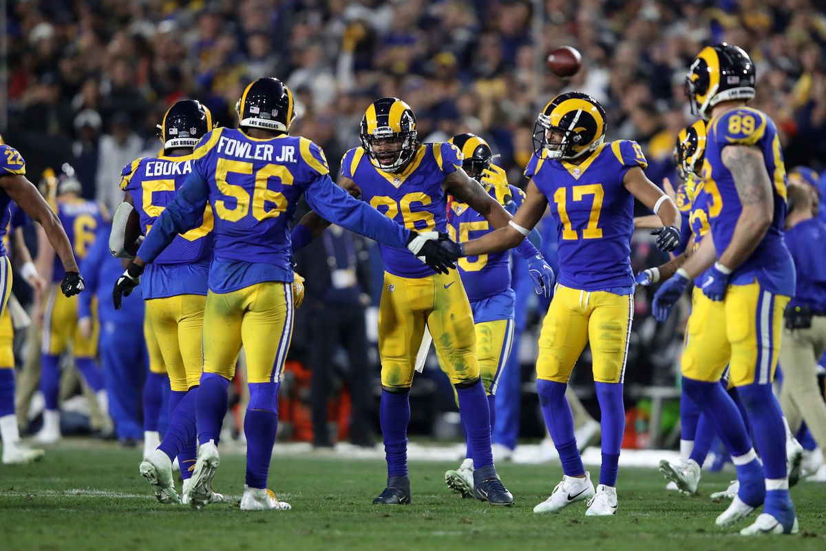 The Los Angeles Rams celebrate