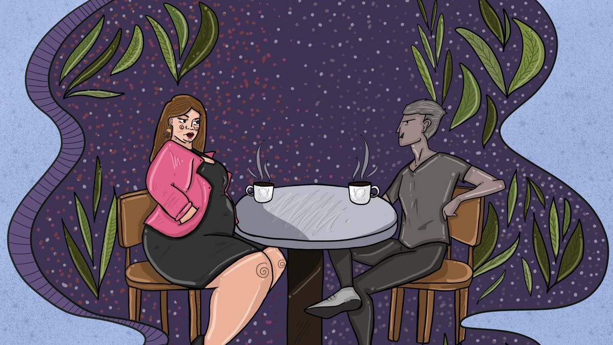 An illustration of a fat woman on a date with a man.