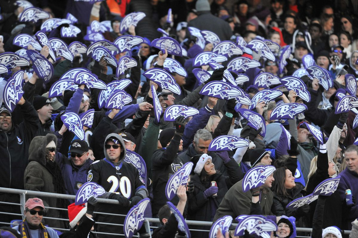 BALTIMORE - DECEMBER 24:  Fans of the Baltimore Ravens cheer against the Cleveland Browns at M&T Bank Stadium on December 24, 2011 in Baltimore, Maryland. The Ravens defeated the Browns 20-14. (Photo by Larry French/Getty Images)