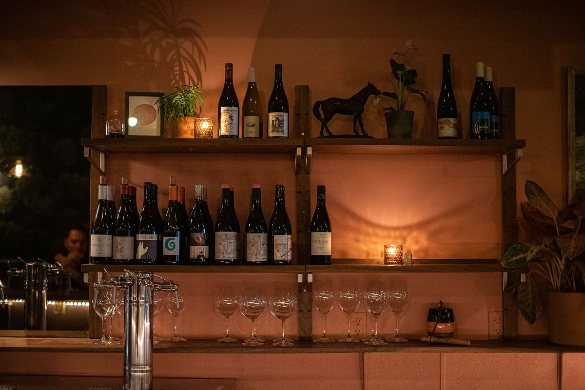 Wine bottles, glasses, and plants on a shelf at a dimly lit wine bar.