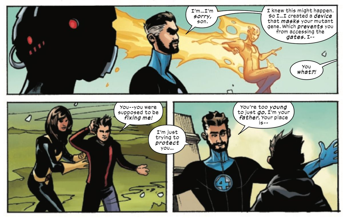 Reed Richards reveals that he secretly implanted a device in his son that masks his mutant gene and prevents him from using the Krakoan gates, in X-Men/Fantastic Four #1, Marvel Comics (2020).