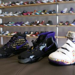 """The Lebron 4 fruity pebble on the right will cost you <a href=""""http://p4pshoes.com/products/lebron-4-fruity-pebble"""">$11,500</a>. Yes, it comes with the left shoe."""