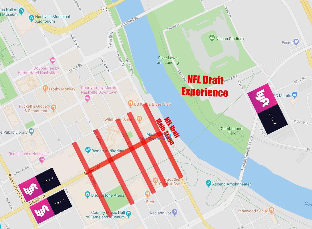 Downtown Nashville Nightlife Map on