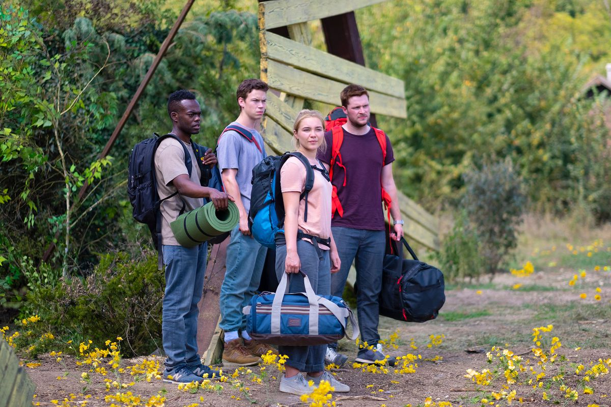 William Jackson Harper, Will Poulter, Florence Pugh, and Jack Reynor in Midsommar.