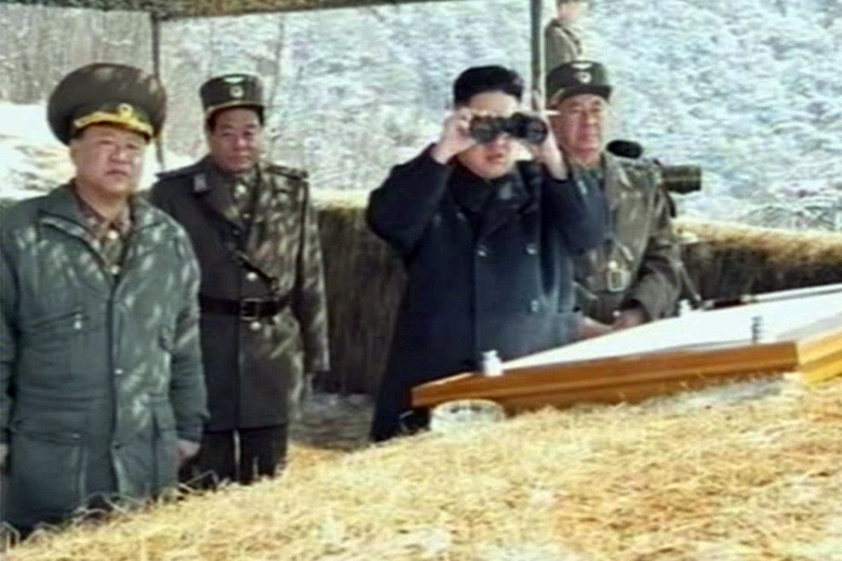 Still 2013 image from North Korean state TV shows Kim Jong Un at military exercises
