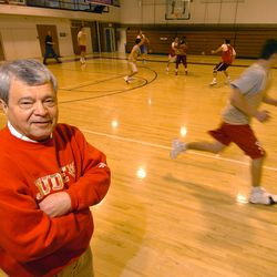 Judge boys prep basketball coach Jim Yerkovich is in his 40th year of coaching at Judge Memorial High School in Salt Lake City. Yerkovich coached a practice at Westminister College in Salt Lake February 20, 2006. Mark DiOrio/Deseret Morning News