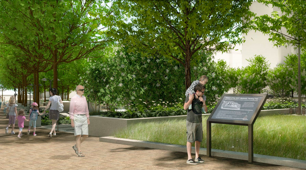 A rendering of walkways and signs at a park memorial.