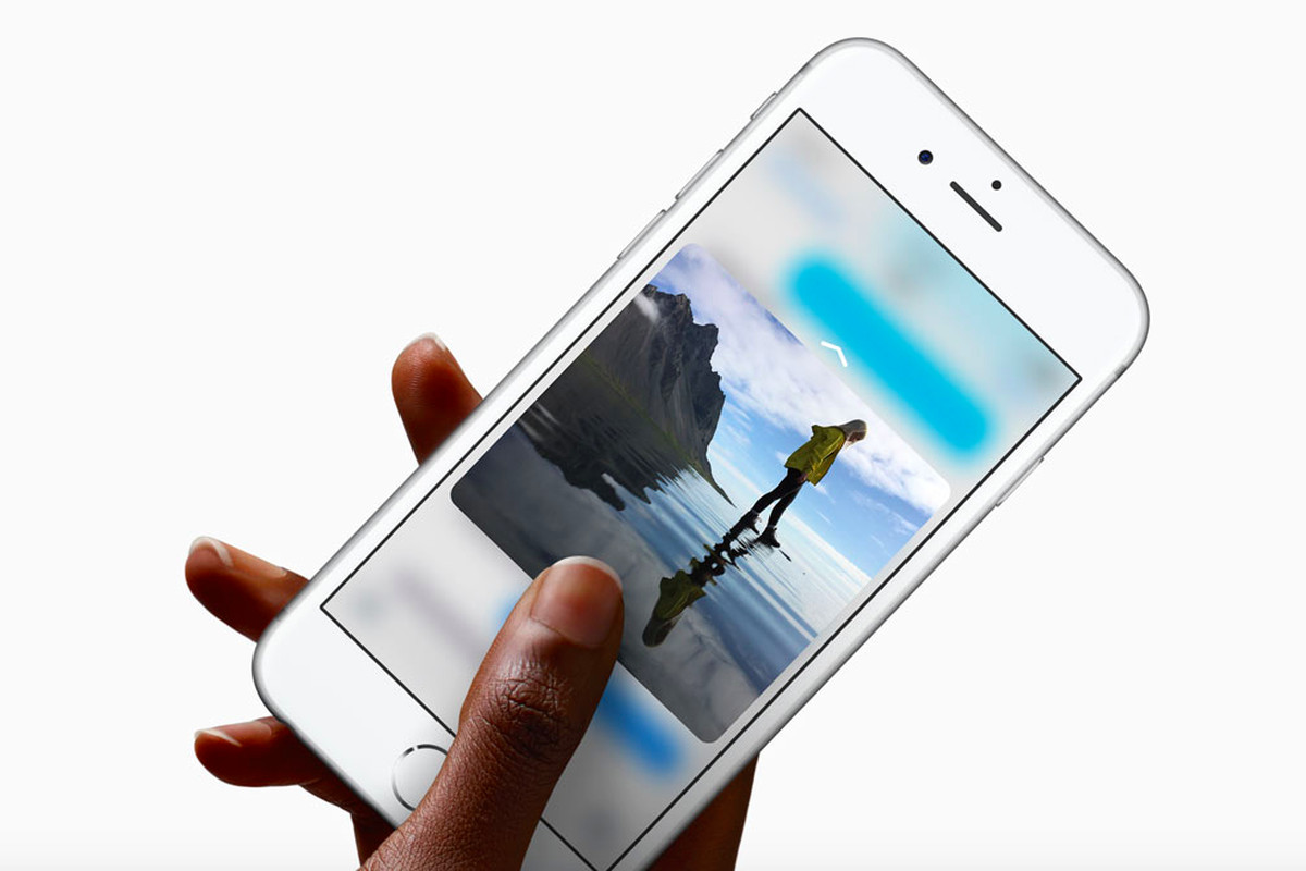 An Apple iPhone using the pressure-sensitive 3D Touch feature.