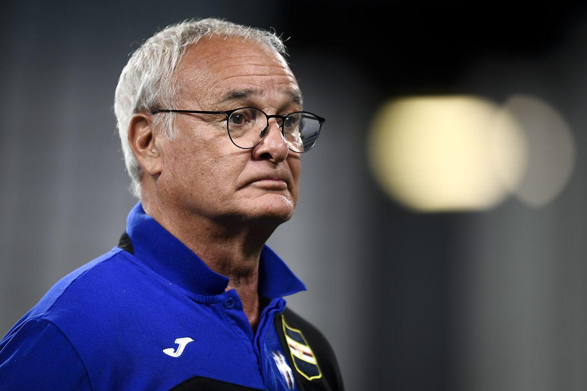 Claudio Ranieri, head coach of UC Sampdoria, looks on prior...
