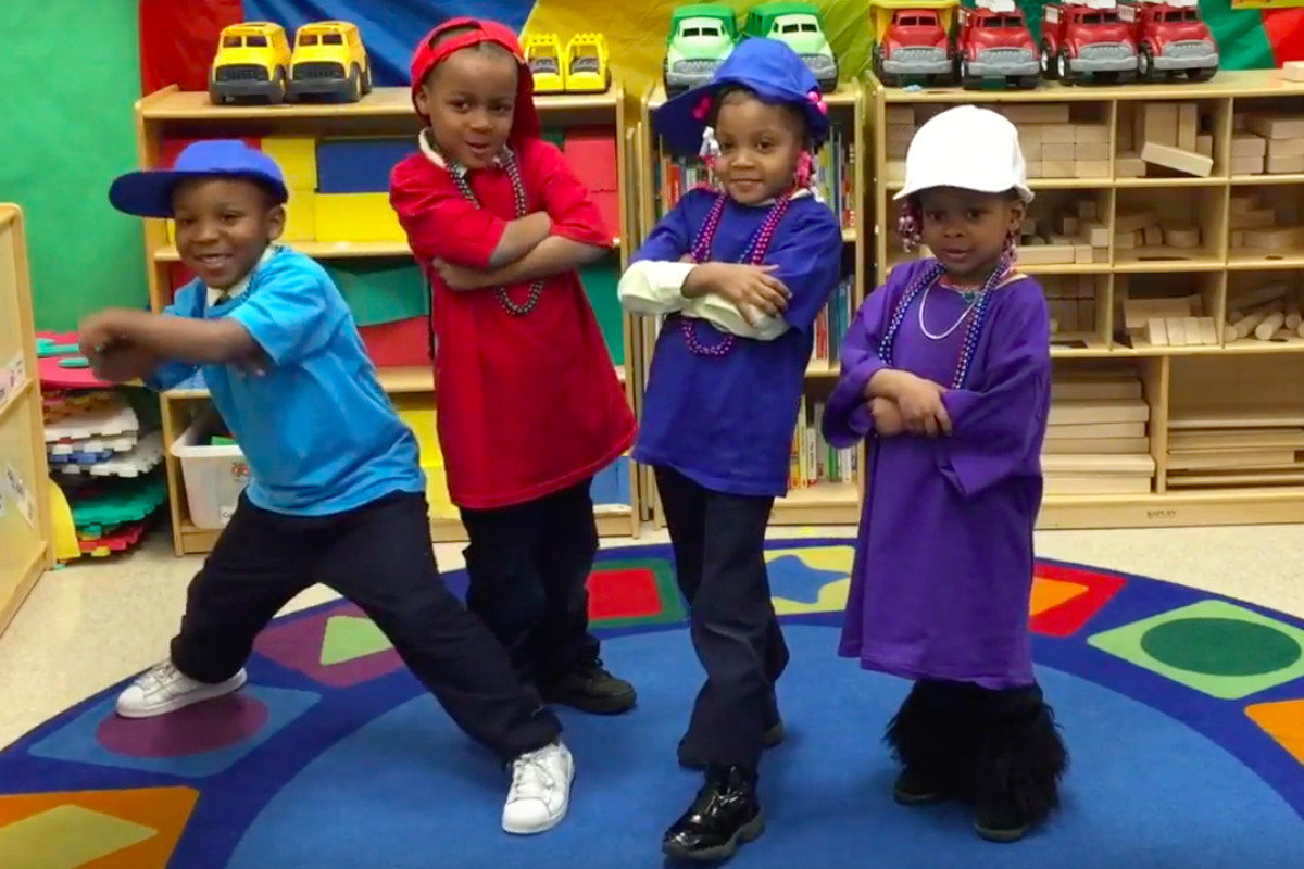 """Students at Coleman A. Young Elementary School pose in a screenshot from """"Pushing to Success."""""""