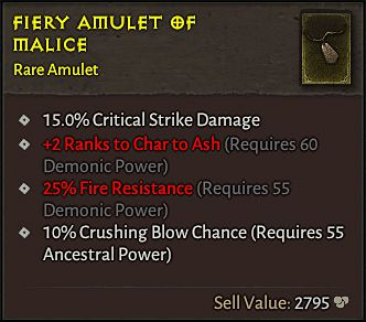 Diablo 4 affix system for Demonic, Ancestral, and Angelic Power