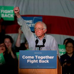 """Vermont Sen. Bernie Sanders wraps up his speech during the """"Come Together and Fight Back"""" tour at the Rail Event Center in Salt Lake City on Friday, April 21, 2017. The tour is part of the process of creating a Democratic Party that is strong and active in all 50 states, and a party that focuses on grass-roots activism and the needs of working families."""