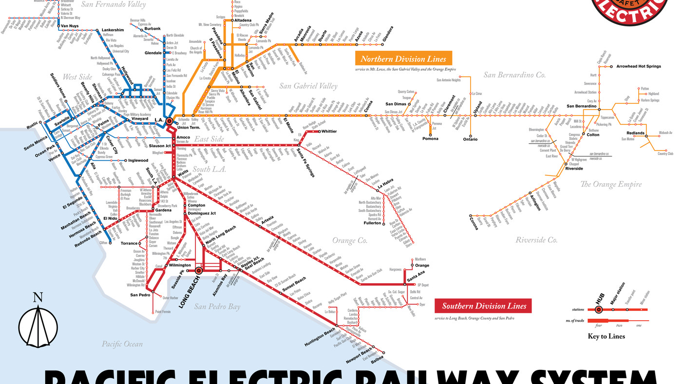 pacific electric railway map Map Details La S Red Car Streetcar Lines Curbed La pacific electric railway map