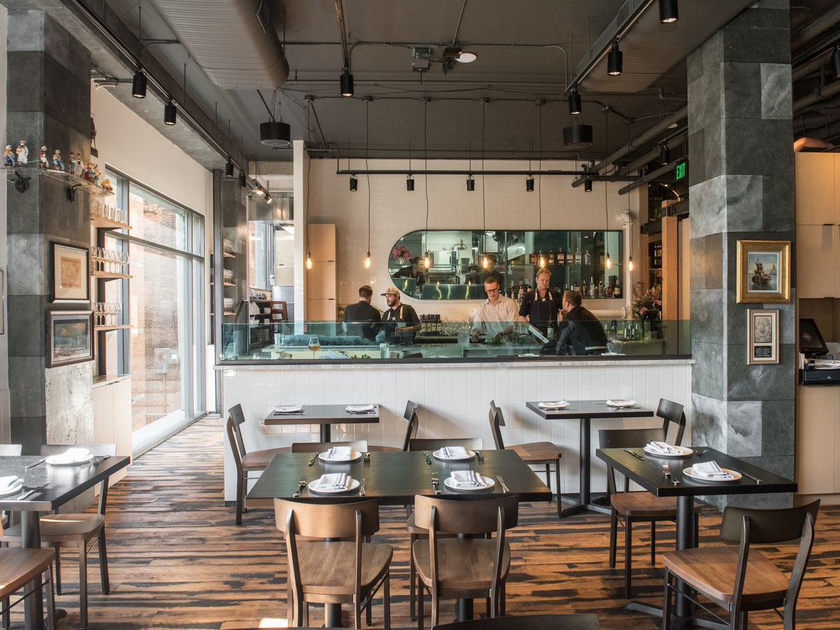 The brightly-lit dining area at Tankard and Tun.