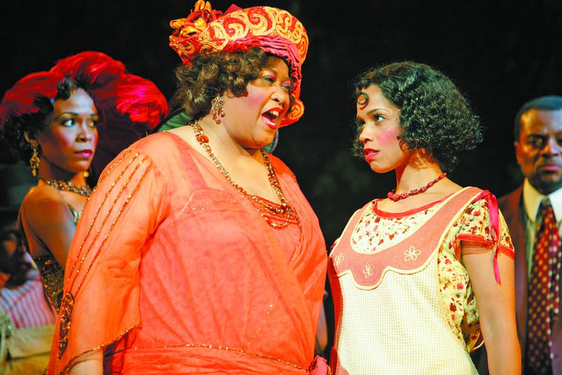 "Sofia (Felicia P. Fields, left) has some strong words for Squeak (Stephanie St. James, right) in this scene from the first national touring production of ""The Color Purple."""