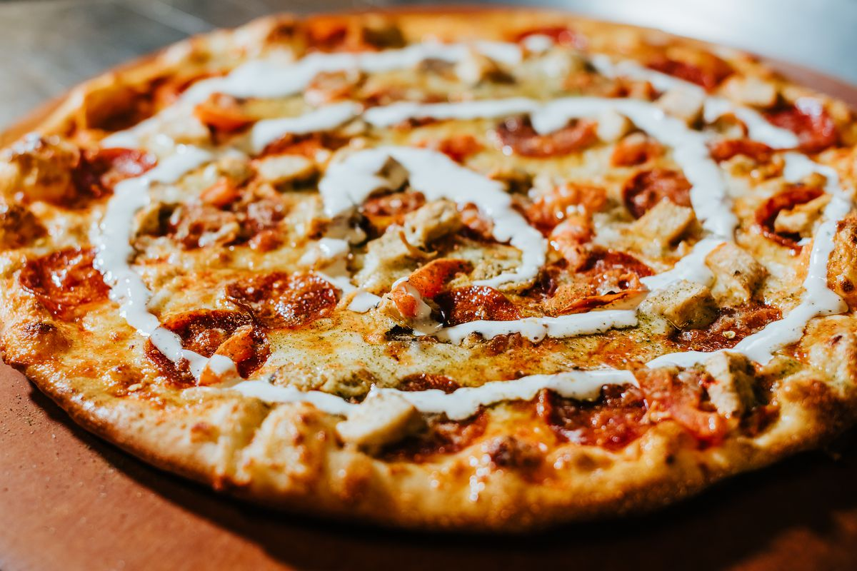 The Red Rocks barbecue chicken pizza at Denver Pizza Co.