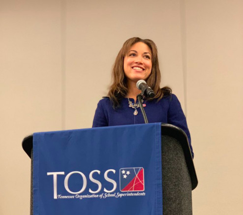 Penny Schwinn speaks to the Tennessee Organization of School Superintendents. (Photo courtesy of TOSS)