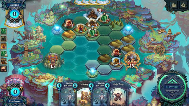 A screenshot of a battlefield from Faeria