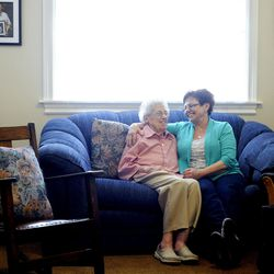 Vicki Bradford has a laugh with her mom Myrl Warner on Tuesday, March 18, 2014.
